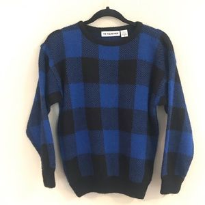 Blue buffalo plaid vintage sweater